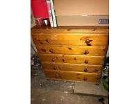 Two matching pine chest of drawers