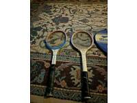 4 x vintage wooden tennis rackets Slazenger and Dunlop included