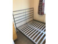 Brushed metal IKEA double bed frame