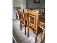 Beautiful solid oak dining set - table with 4 chairs, bookcase/dresser, coffee table & mirror