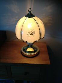 "Classic Table Lamp 11"" 4-Way Touch Light in Brass W/ Glass Shade"