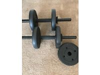 2 dumbbells with extra weights