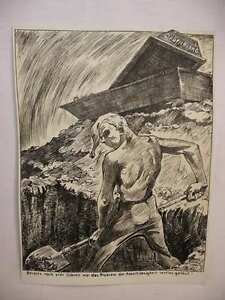 W-TRAUTSCHOLD-Originale-antifaschistische-Karikatur-Arbeitslosigkeit