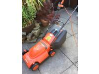 Flymo Venturer lawnmower 350 turbo roller rotary grass collection . Push-along corded, steel blade.