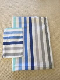2 x single duvet sets in striped blue