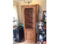 Pine corner unit with shelves & cupboard