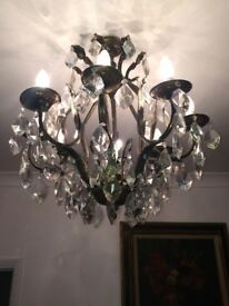 ANTIQUE FRENCH 1930'S BRASS 8 ARM CHANDELIER