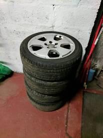 Audi a3 alloy wheels 2 good tyres 5x112