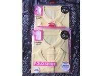 2 packs of Brand New Yellow Polo Shirts & 2 x Grey Pinafore Dresses - Age 10-11