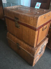 Great Pair of Antique Victorian Railway Metal Tin Chest Trunk Storage Boxes Coffee tables