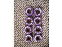 Hyper Rollo Purple Roller Skate Wheels x 8 62mm 78a / Rollerskate