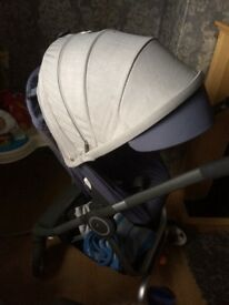 Stokke scoot slate blue with a v2 seat