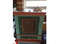 Dutch painted solid pine cabinet/ wall unit