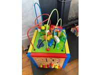 Colourful wooden Baby / toddler activity play cube with puzzles, abacus, xylophone & animal zoo