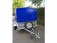 750kg box trailer, cover, spare wheel, removable cage L 3.5m W 1.7 H 1.75 conformity cert, as new