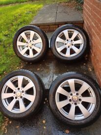 Genuine mercedes alloy wheels with new tyres