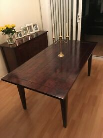 Solid birch dining table with dark stain and lacquered finish (NEXT Toscana range)