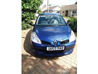 Renault Clio, 1.4, blue, 2007, 63,500, 7 months MOT.