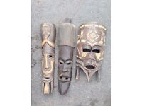 Genuine African timber masks, purchased from South Africa circa 1970.