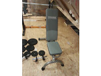 Weight bar, Iron cans weight discs, 2 small shafts and Dumbbell lifting bench