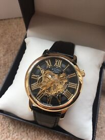 Rotary Skeleton Automatic Watch Gold/Leather *RRP £450*