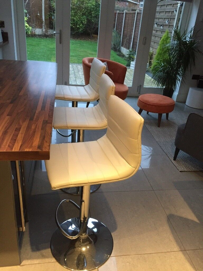 3 White Leather Kitchen Bar Stools Barker And Stonehouse For Sale In