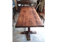 Large oak dining table with 8 chairs for sale