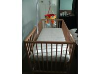 Baby Cot for Sale (nearly new) with New Mattress and Cot Mobile