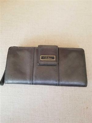 Cole Haan Gun Metal Gray 18 Credit Card Holder Zip Compartment Clutch Wallet