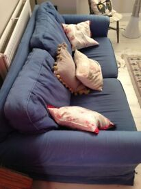 3 seater very comfortable blue sofa (washable covers): £200