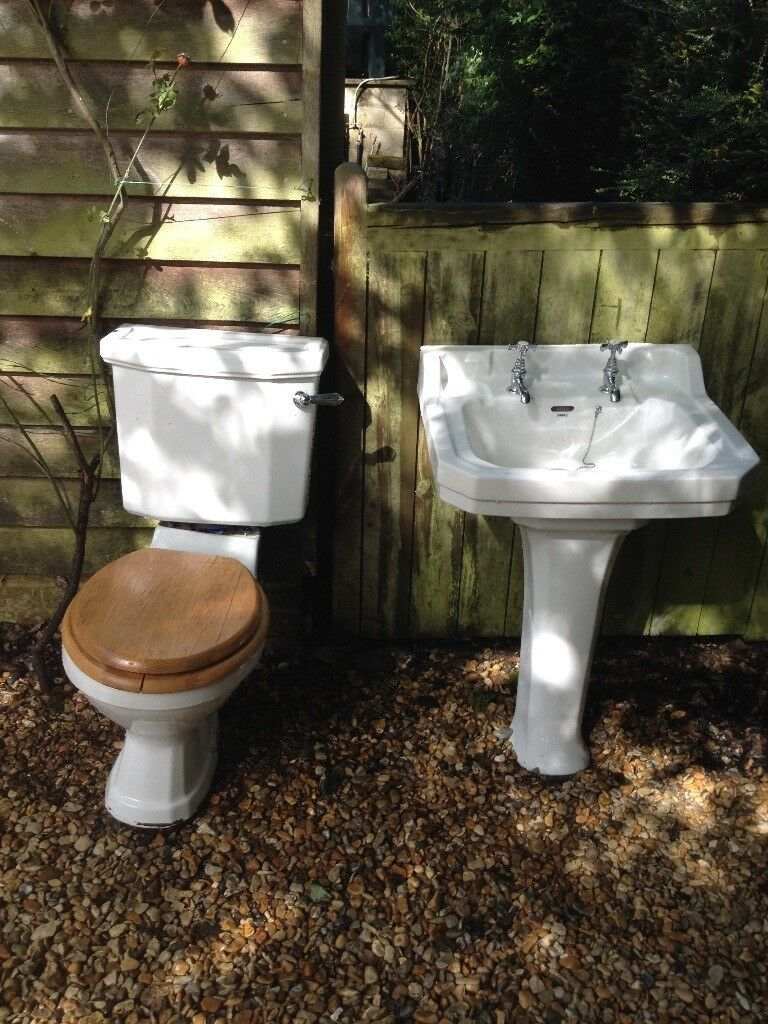 Sink and toilet. Vintage original 1950's Shires white ...