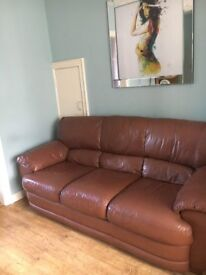 3 seater and 2 armchairs, brown leather,