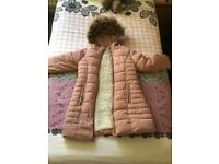 NEXT girls pink coat with white fur inside Age-9