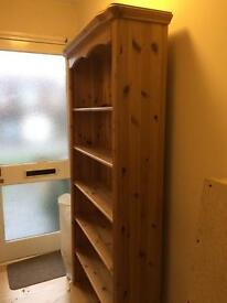 Pine TV unit, cupboard and bookcase