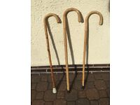 3 Curved Handle Walking Cane/Bamboo Walking Sticks with Rubber Feet