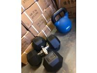 Commercial Gym Weights - Hex Dumbells and Cast Iron Kettlebells Brand New