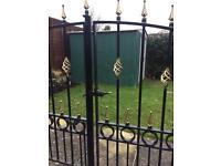 Solid steel concertina gates .