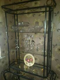 Display metal and glass shelving unit