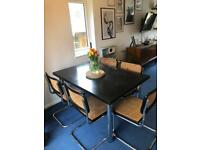 Marcel Breuer Cesca Style dining table and 6 chairs by Habitat 70s Italian Vintage