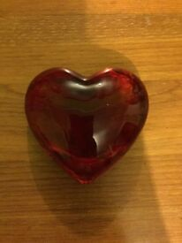 Red glass heart shaped ornament
