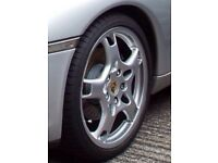 PORSCHE LOBSTER FORK ALLOYS AND N RATED TYRES.