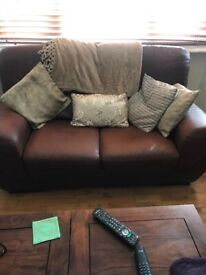 Italian leather settee 3and a 2