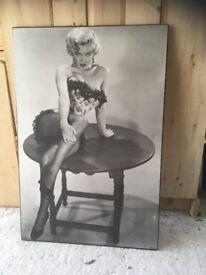 Verkerke vintage 1984 Marilyn Monroe fish net pin up image on board
