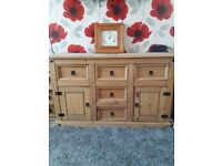 Mexican Pine sideboard. Excellent condition 5 drawer and 2 doors