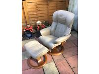 Leather Swivel/Reclining Chair & Matching Footstool