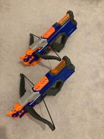 2 x Nerf gun crossbow and bullets