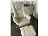 Reclining swivel chair and footstool