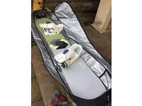 Burton 153 snowboard package with boots, bindings and bag