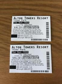 2x Alton Towers Tickets 27/06/18...£20 for the pair!