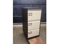 Silverline 3 Drawer Brown Metal Filing Cabinet